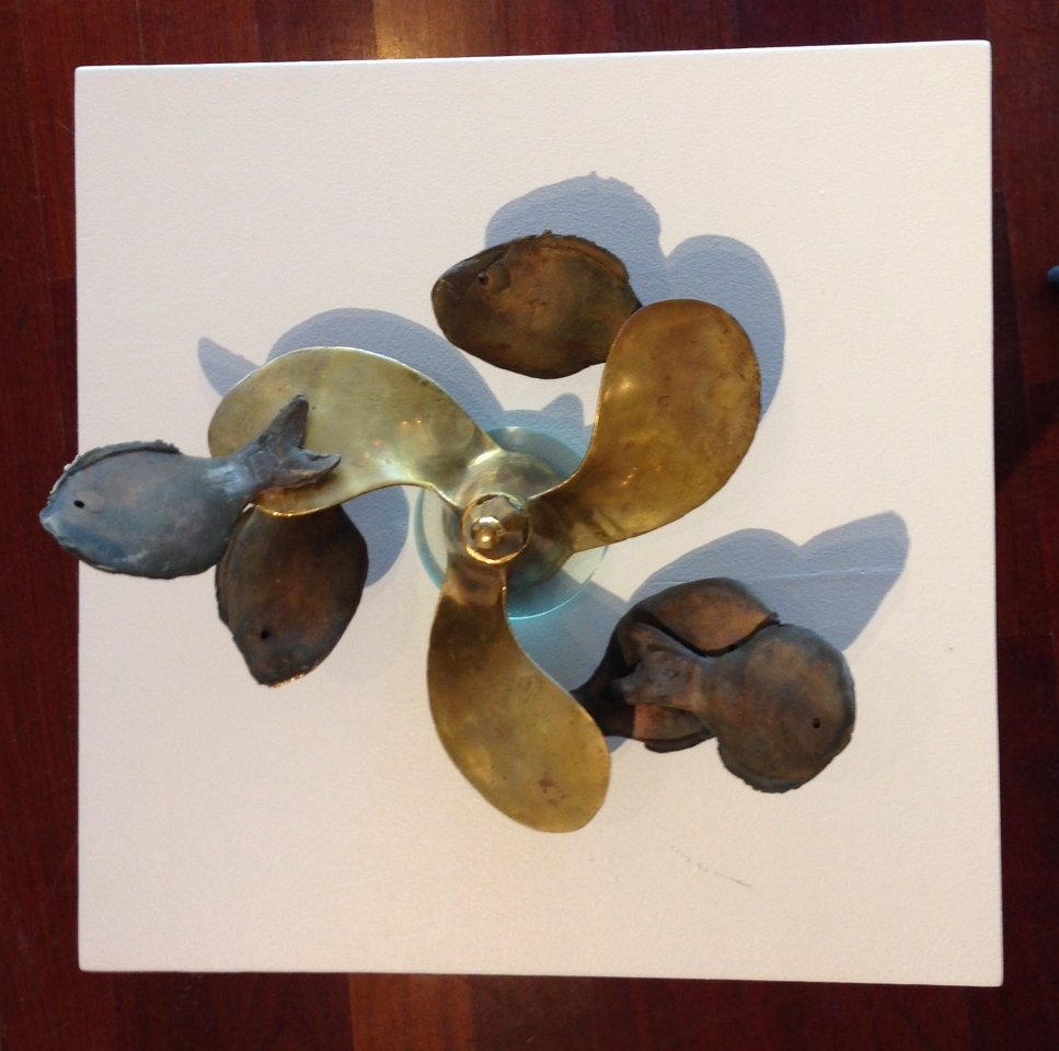 """Spin Offs, 2014, bronze, sheet metal, silver plate/bakelite, 8""""x14""""x14"""""""