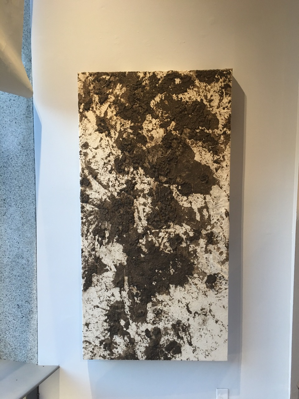 """Sheep Print, Out To Pasture,  earth, canvas, sealant, 27x56"""", 2015"""