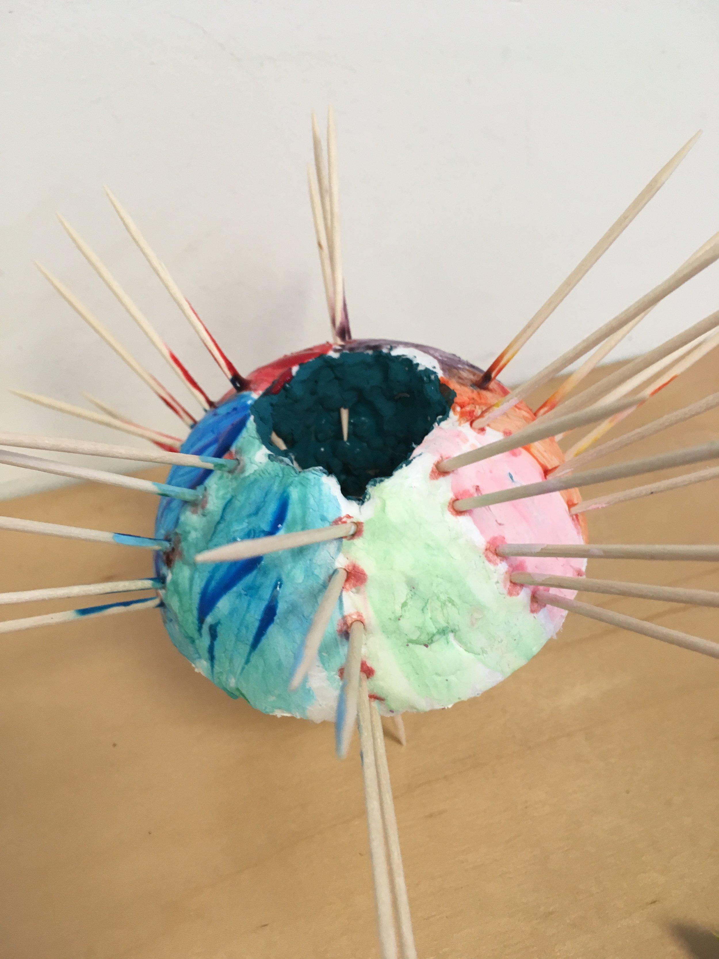 My grandson Ethan Fine's (age 7) sea urchin/ spaceship.