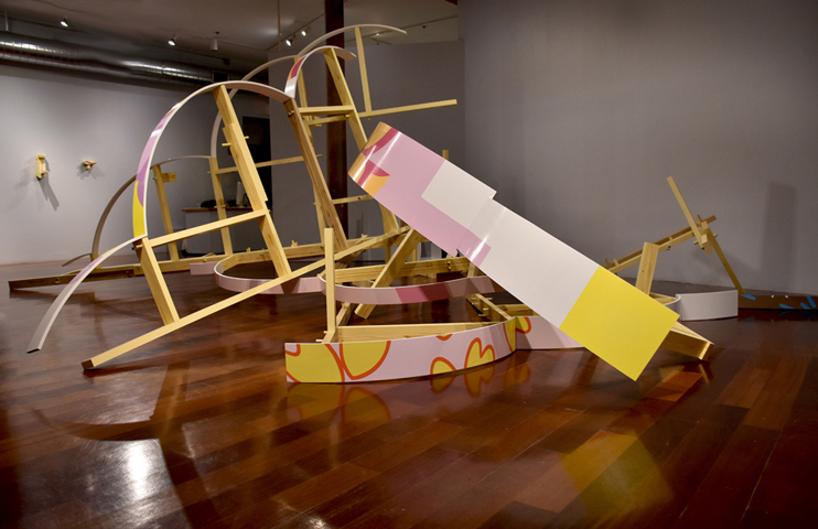 """Spin"" installation at Boston Sculptors Gallery"