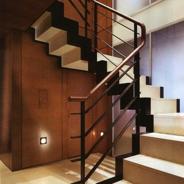 Staircase we designed. If you look closely you'll see the handrail is wrapped in leather #dineenarchitecture . . . . . . . . . . . .  #interiordesign #interiordesigner #interiors #interior #interiorinspiration #interiordecor #nyc #design #art #instagood #instadecor #beautiful #picoftheday #decor #homedesign #homedecor #furniture #lighting #home #house #interior4all #love #luxury #architecture #inspiration #decoration #interiorstyling #interior123 #instadesign