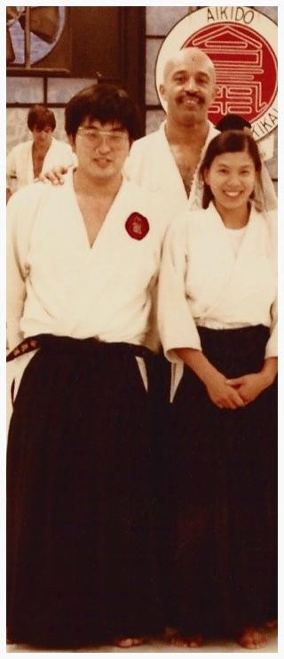 "New York Aikikai ""Morning Class"" instructor, Luqman Abdul Hakeem , with Phillip and Jane Ozeki, in 1979."