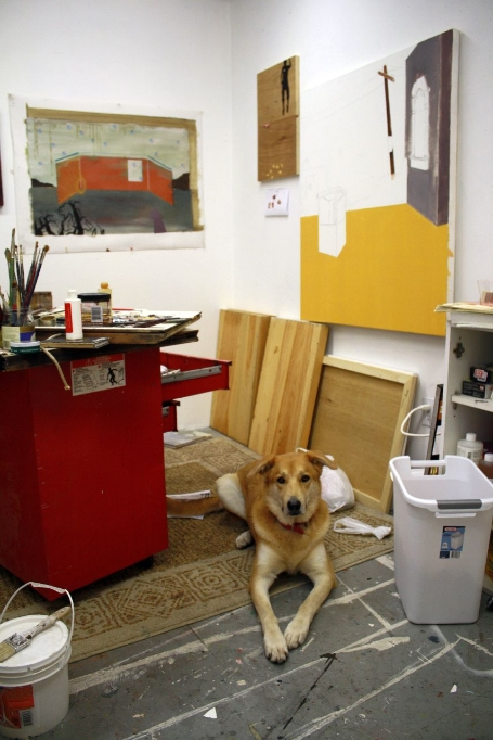 """Studio Gangster"" - Olive, beloved dingoish dog and companion, in my studio in Somerville, MA in 2010"