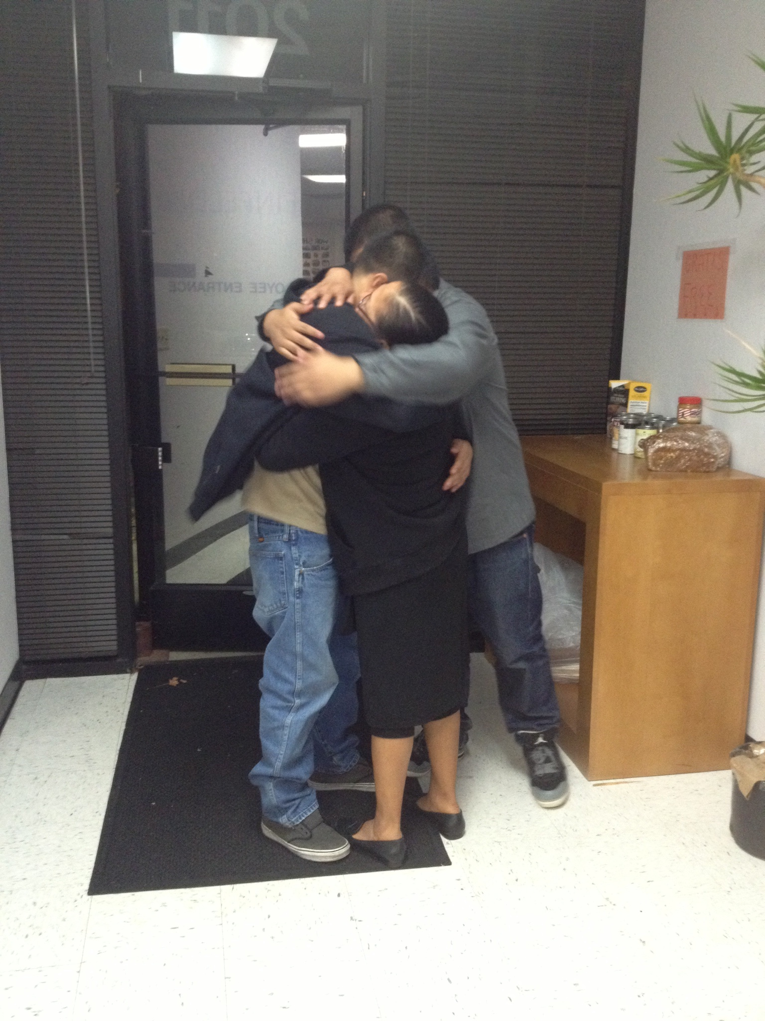 Jesus and his family embrace after his release.