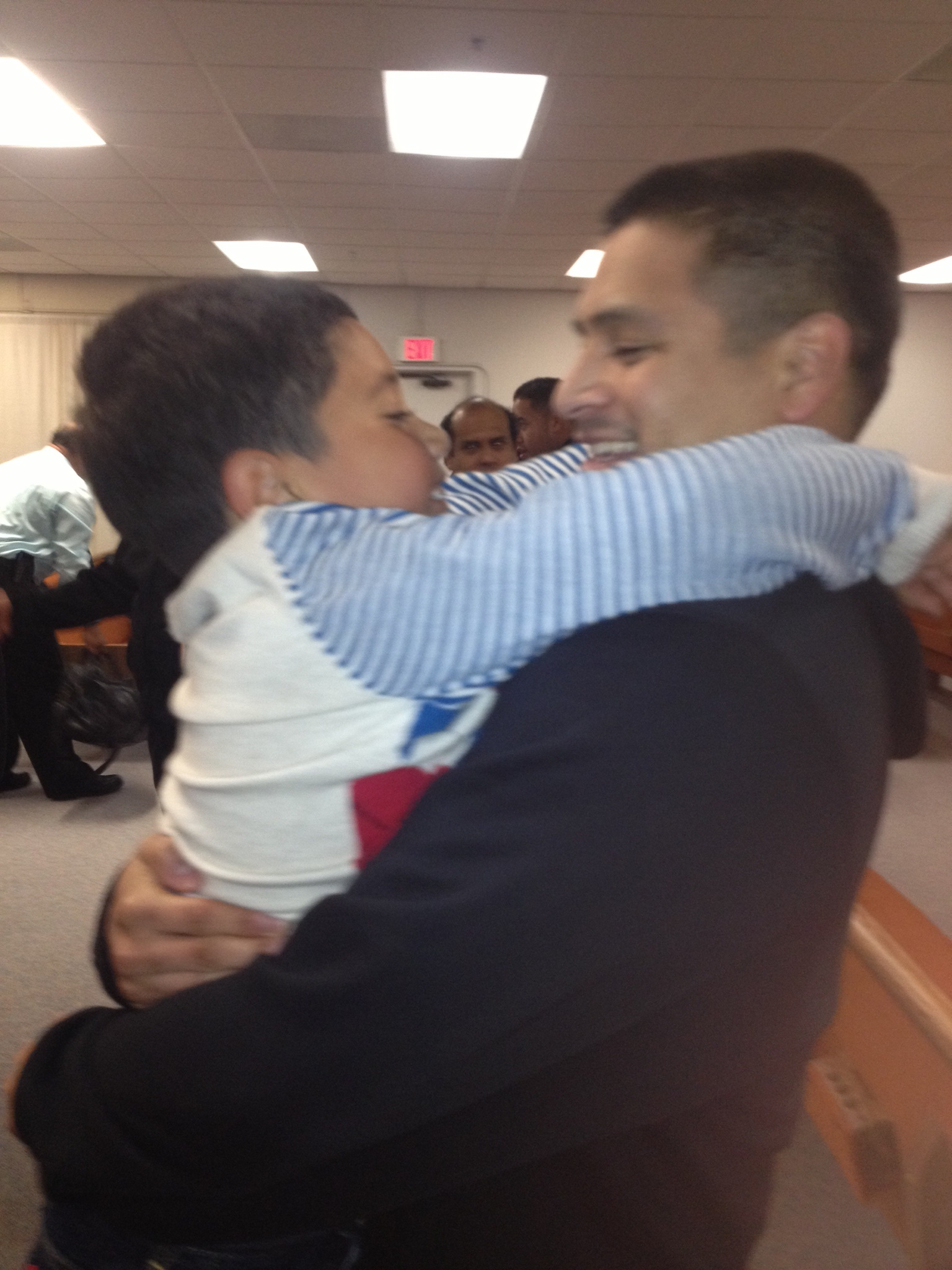 Jesus embracing his nephew tonight at Church in San Jose after his release.