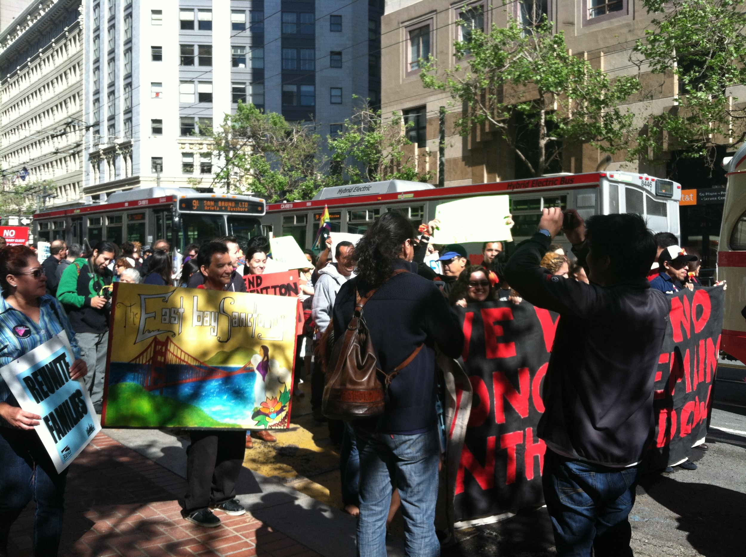 Documented and undocumented immigrants in San Francisco rally to stand up for their basic human rights.