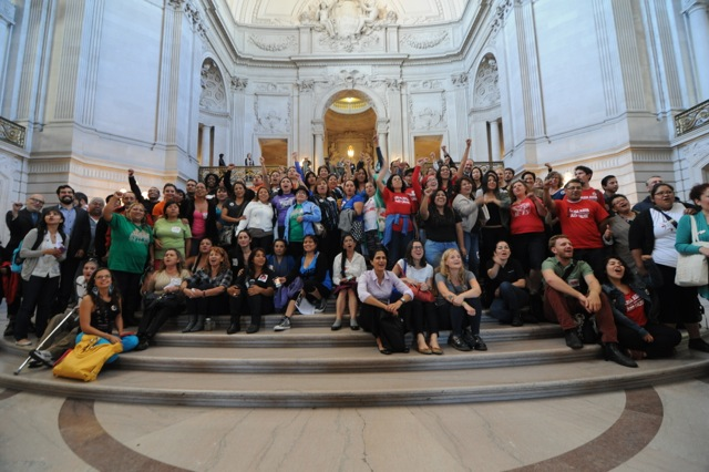 Pangea and community celebrate passage of SF Due Process Ordinance after supervisor vote at City Hall, San Francisco, CA