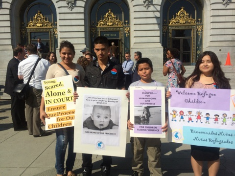 Pangea clients advocate for access to counsel initiative for other refugee children who don't have attorneys (City Hall, Sept. 2014)