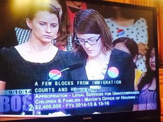 Co-Director and Immigration Attorney, Marie Vincent, testifies in supportof access to counsel initiative (City Hall, Sept. 2014)