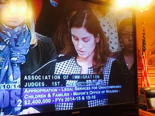 Bianca Santos, Director of International Human Rights Program and Immigration Attorney,testifies in supportof access to counsel initiative (City Hall, Sept. 2014)