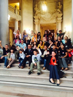 Celebrating budget committee vote (City Hall, Sept. 2014)