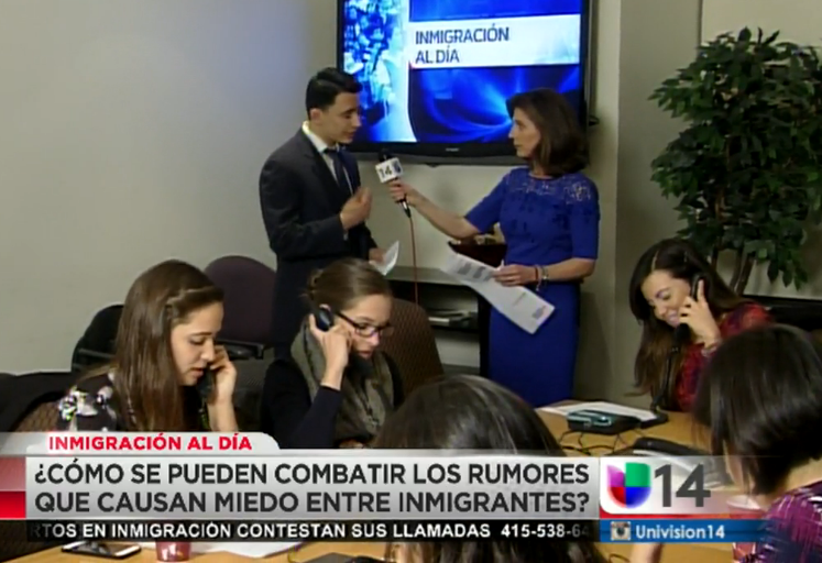 Pangea attorney and volunteers providing know your rights education with Univision 14.