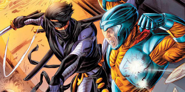 Cover detail from  X-O Manowar  #6, art by Doug Braithwaite. Valiant Comics.