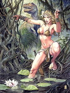 Unadorned variant cover to  Savage Wolverine  #1, art by Milo Manara. Marvel Comics.