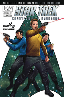 Hastings exclusive variant cover to  Star Trek: Countdown to Darkness  #1, art by Erfan Fajar. Paramount Pictures/IDW Publishing.