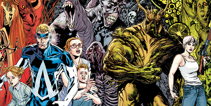Combined cover detail to  Animal Man  #12 and  Swamp Thing  #12, art by Steve Pugh and Yannick Paquette. DC Comics.