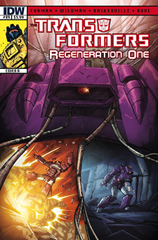 Cover to Transformers: Regeneration One #89, art by Andrew Wildman. Hasbro/IDW Publishing.