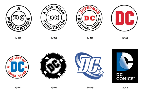 DC Comics logos, through the years, courtesy of DesignBuddy.com.