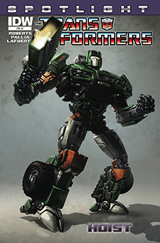 Variant cover to  Transformers Spotlight: Hoist . Hasbro/IDW.