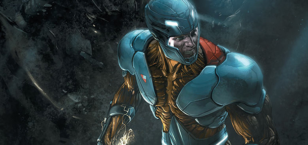 Cover detail from  X-O Manowar  #17. Art by Clayton Crain. Valiant Comics.