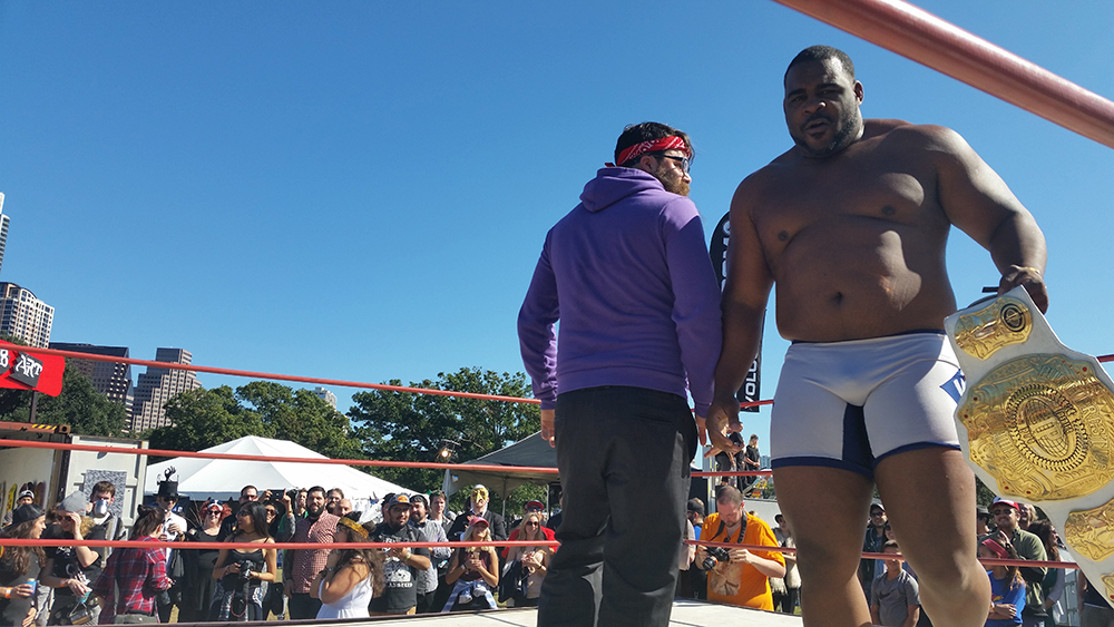 "Future ""Manager of the Decade"" ChrisTrew.biz and current Pure Prestige champ Keith Lee represent The New Movement in the Inspire Pro ring at Austin's annual Fun Fun Fun Fest. Photo: Dallas Observer/Chris McDonald"