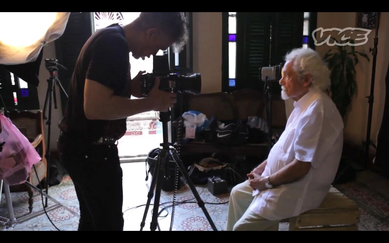 Serrano photographing writer Pablo Armando Fernandez in our temporary studio in Havana Veija.