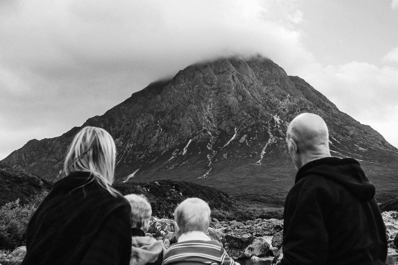Family at the foot of Buachaille Etive Mor, Glencoe
