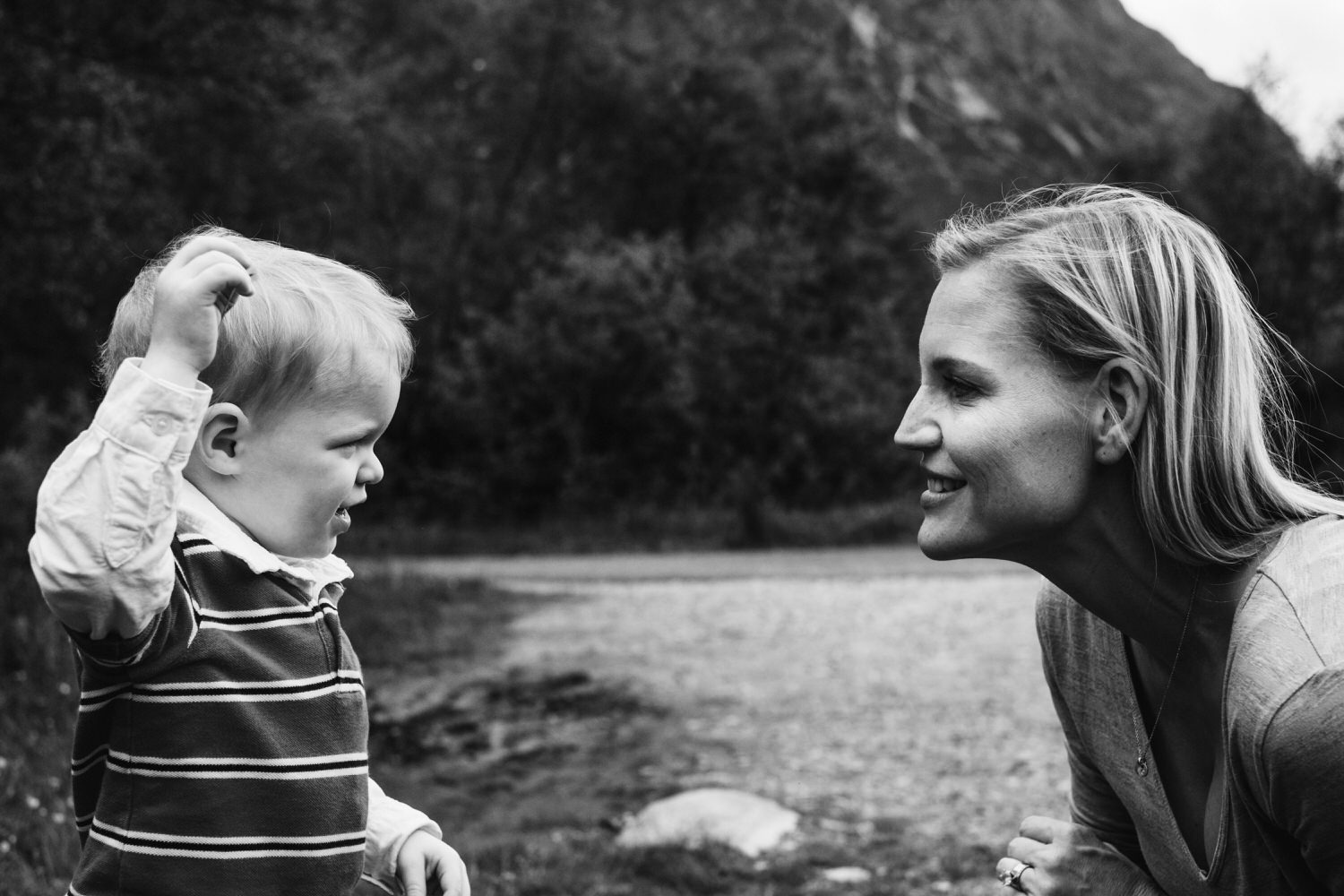 Mother smiles at her son