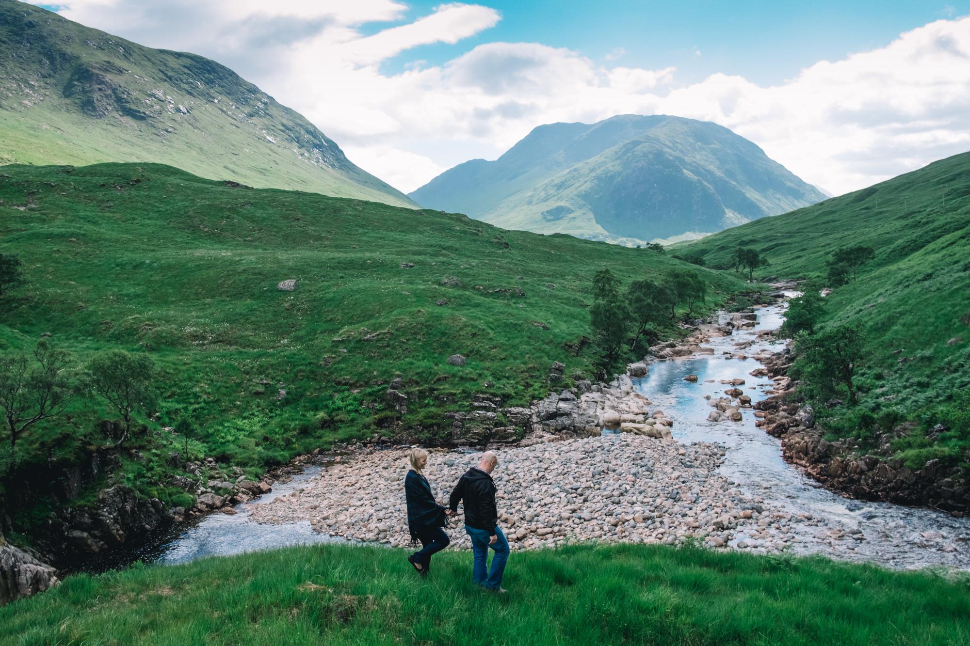Couple walking in Glen Etive