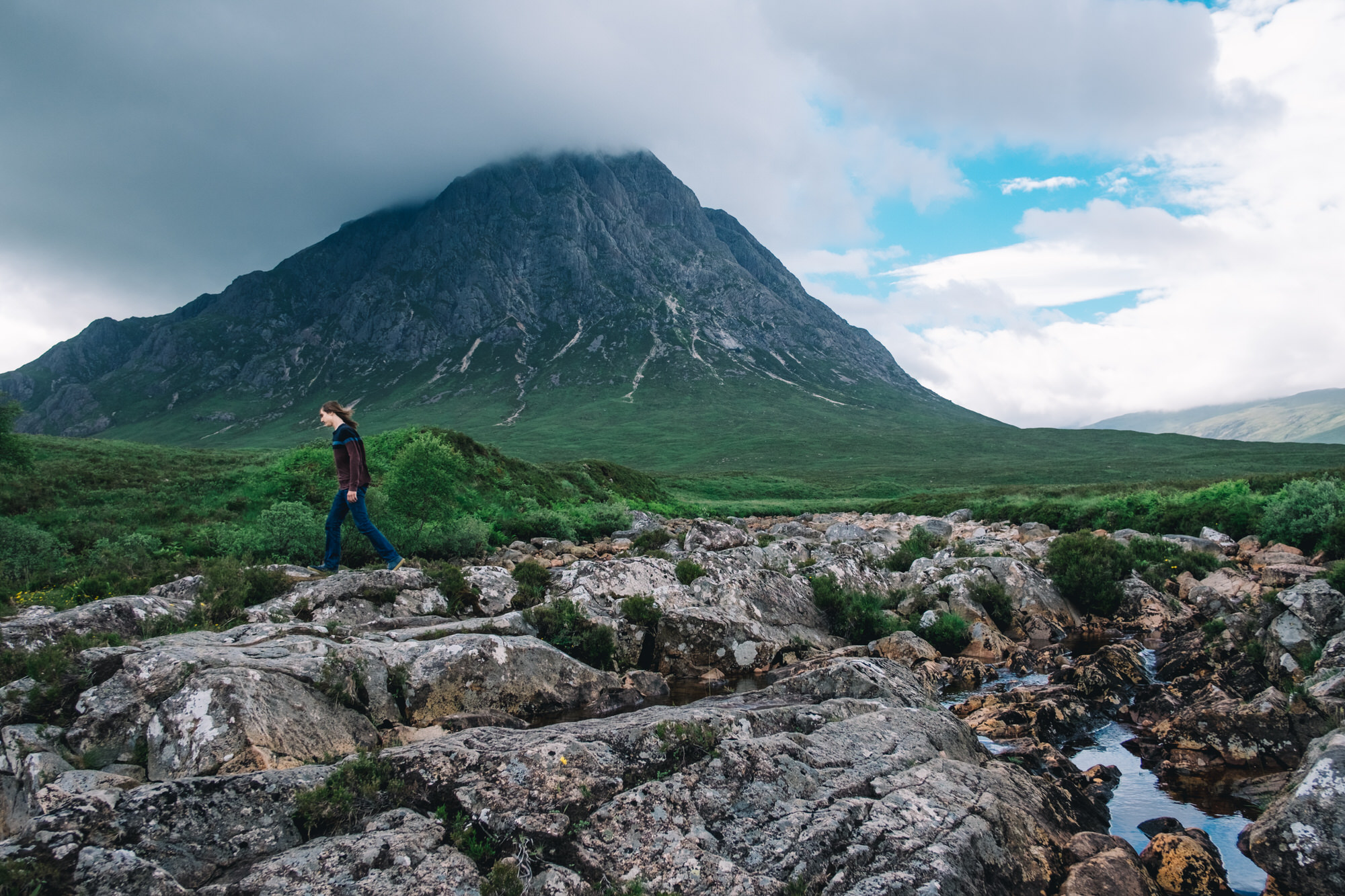 Teenager at the foot of Buachaille Etive Mor, Glencoe
