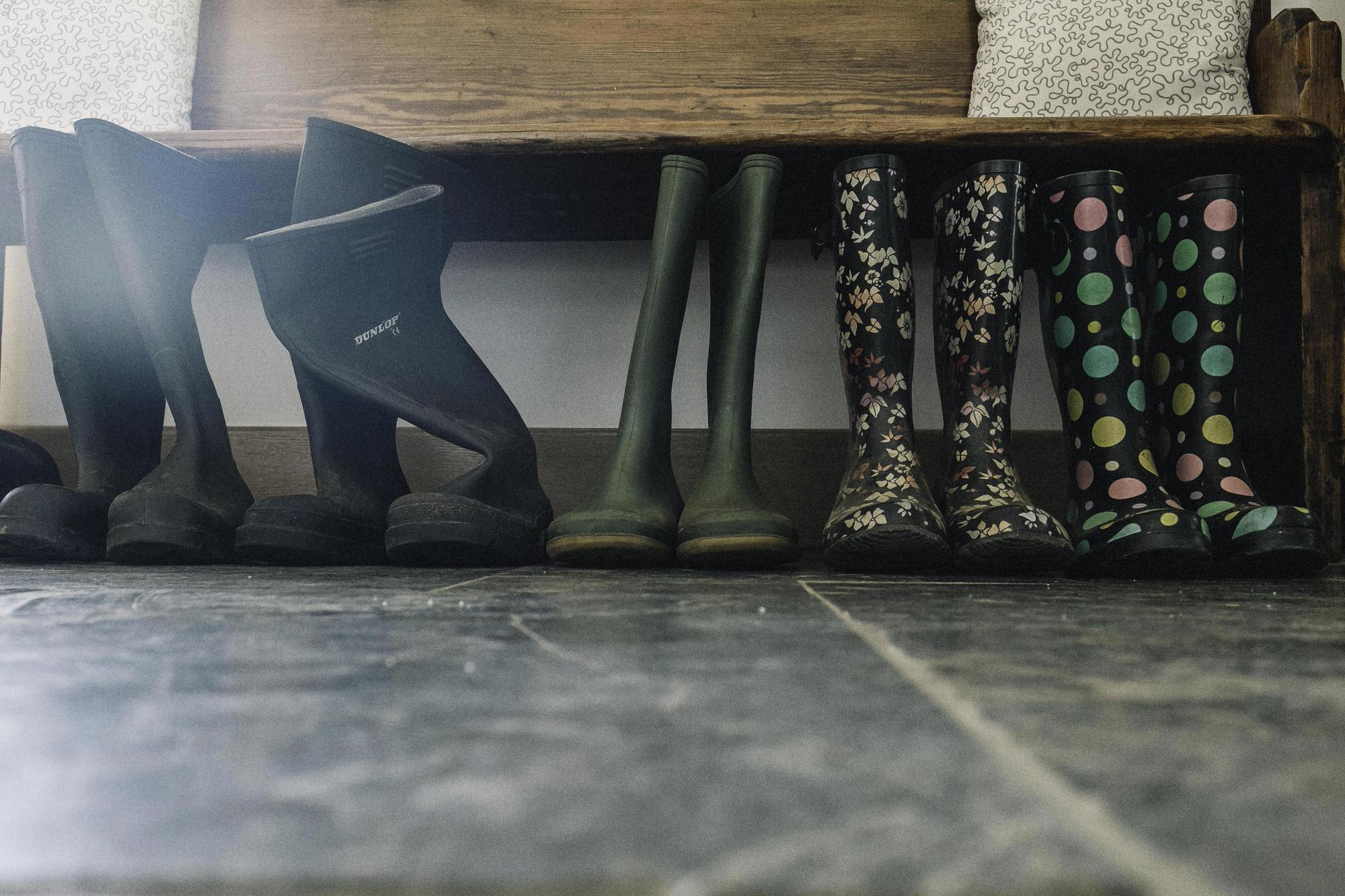 Wellies lined up