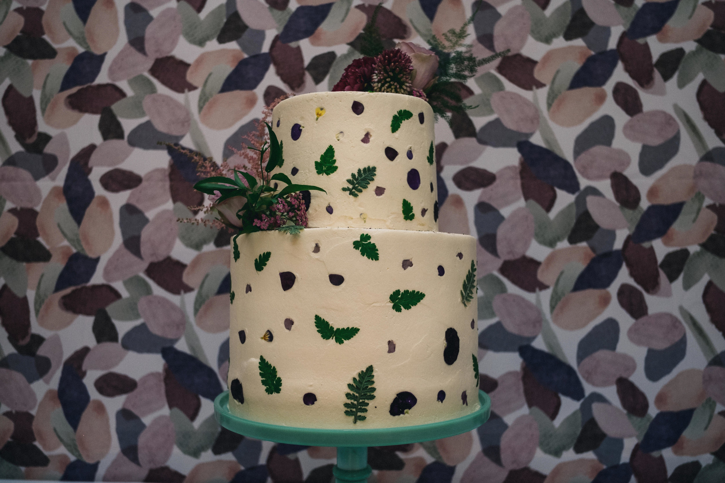 Wedding cake on cake stand