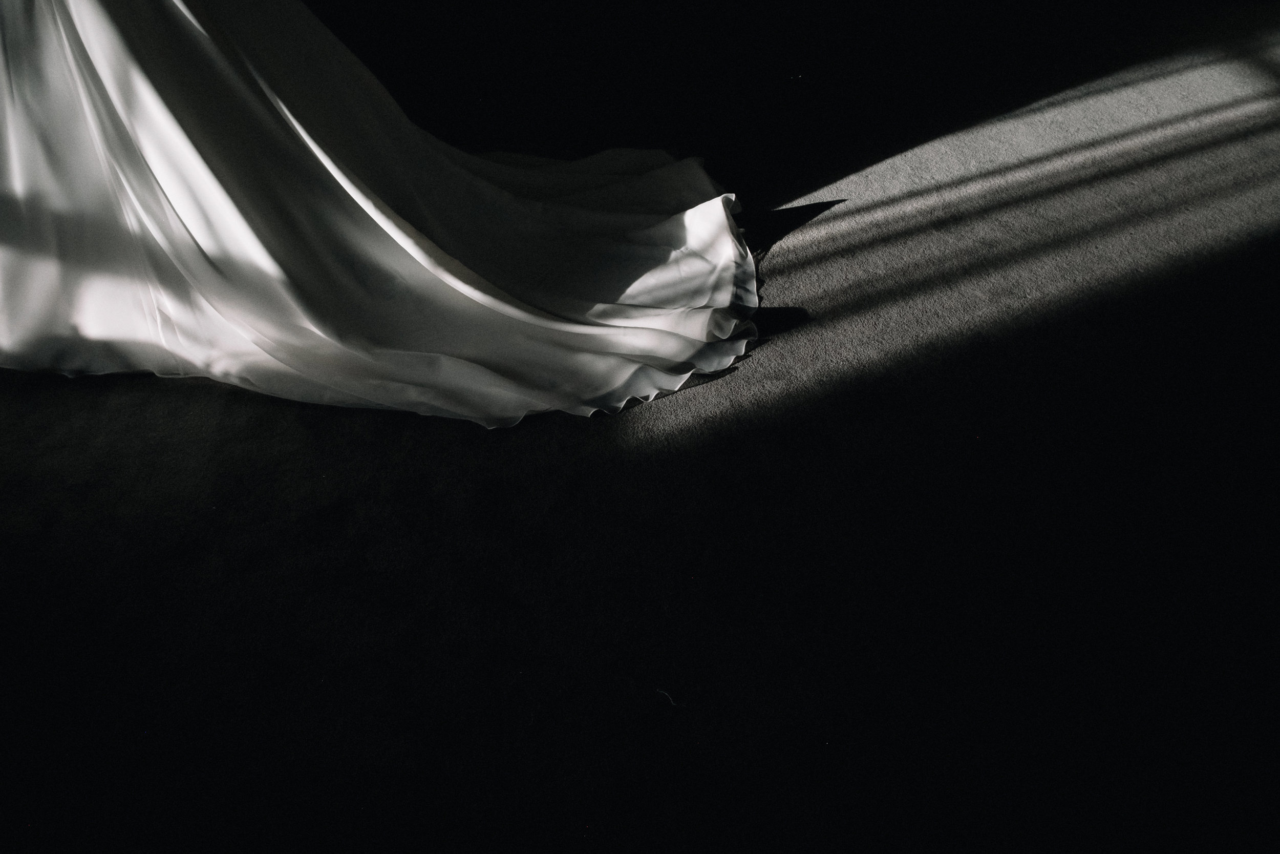 Bridal train in the shadows