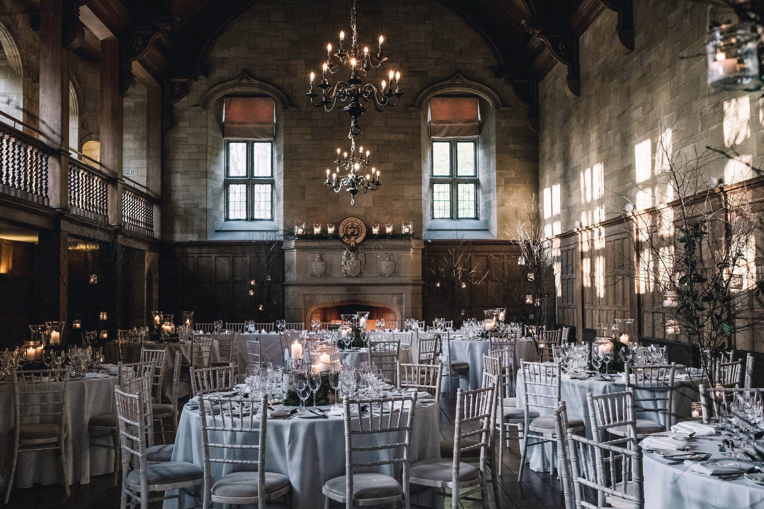 Achnagairn Estate ballroom prepared for wedding breakfast