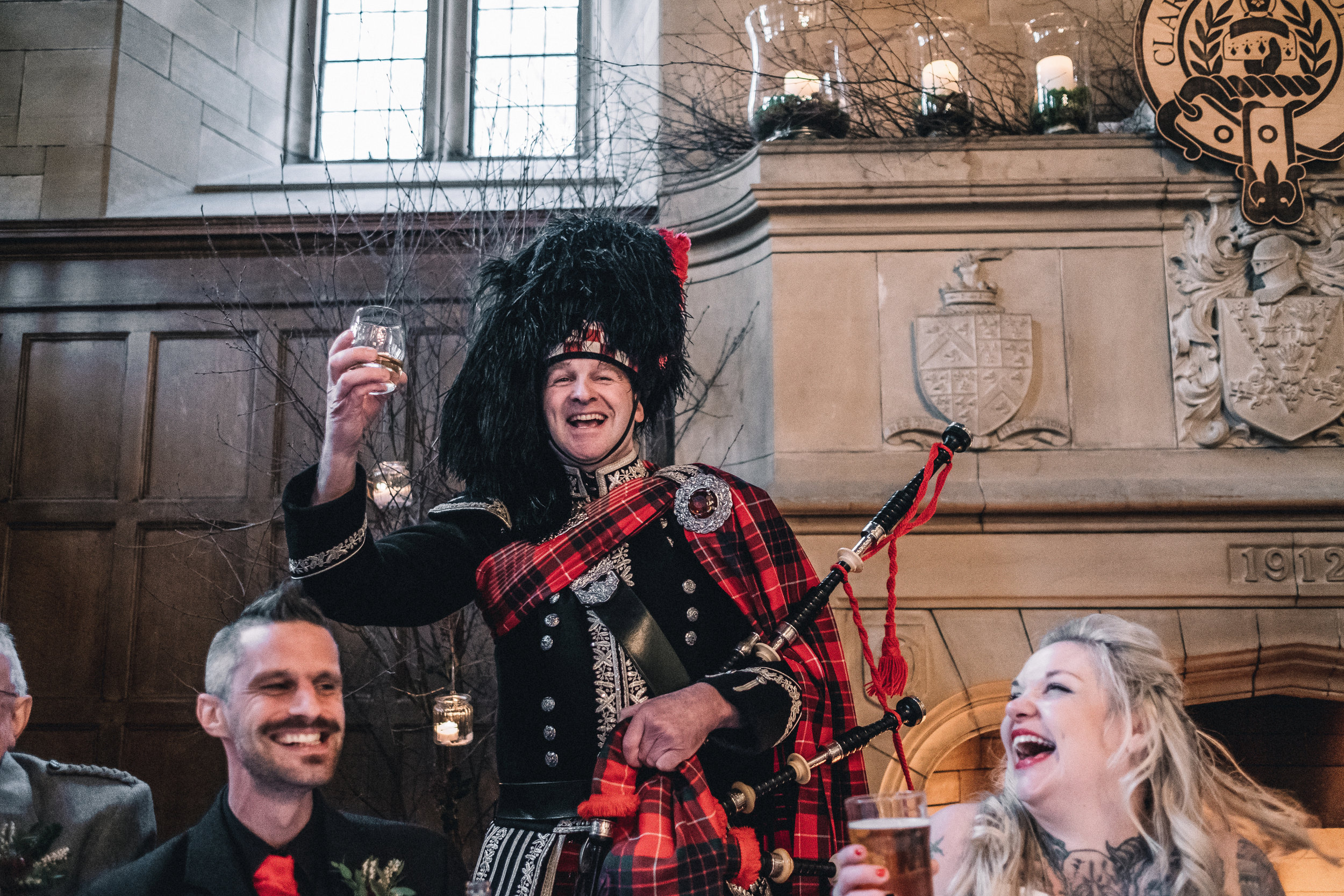 Piper toasts the bride and groom