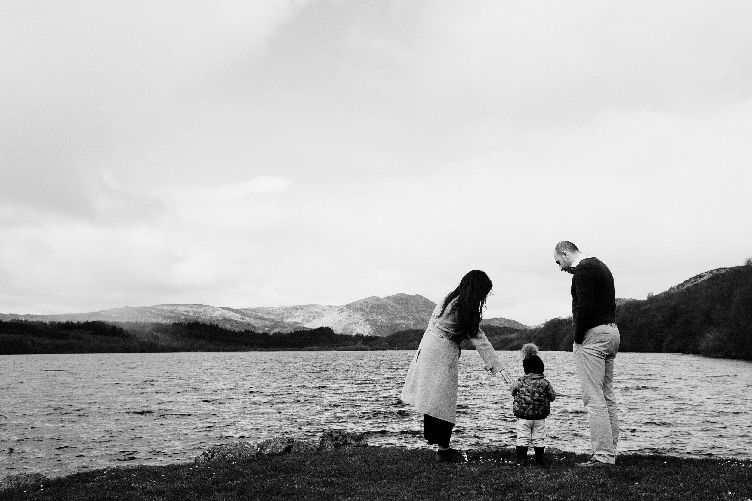 Family stand by Loch Venachar