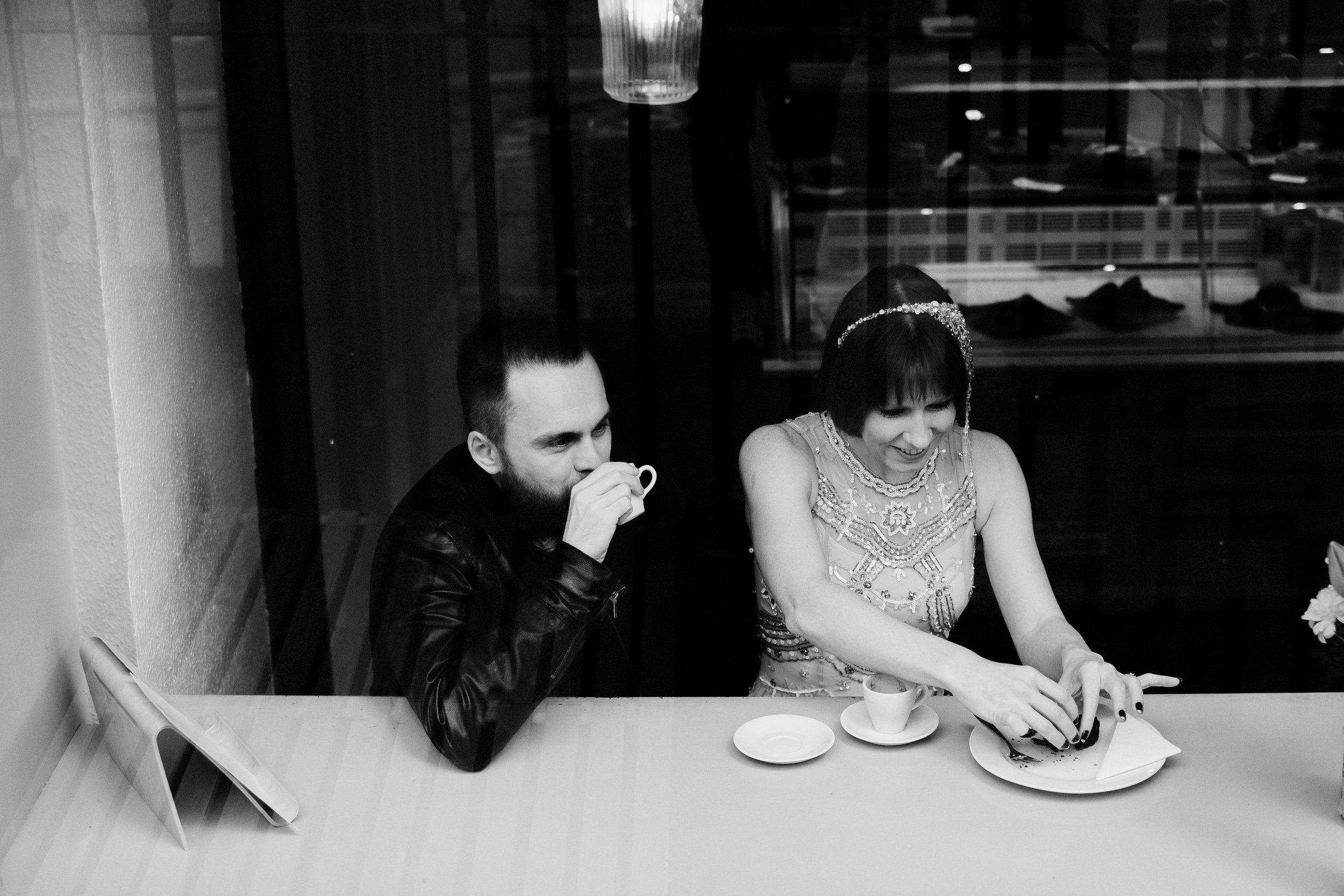 Bride and groom in a coffee shop