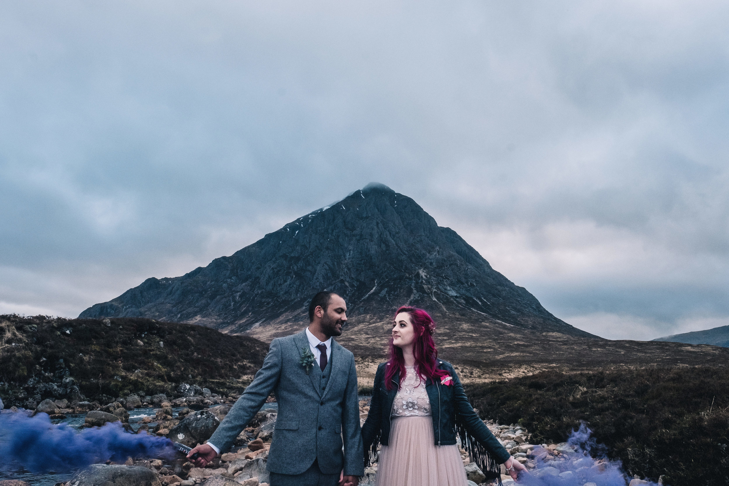 Couple at foot of Buchaille Etive Mor