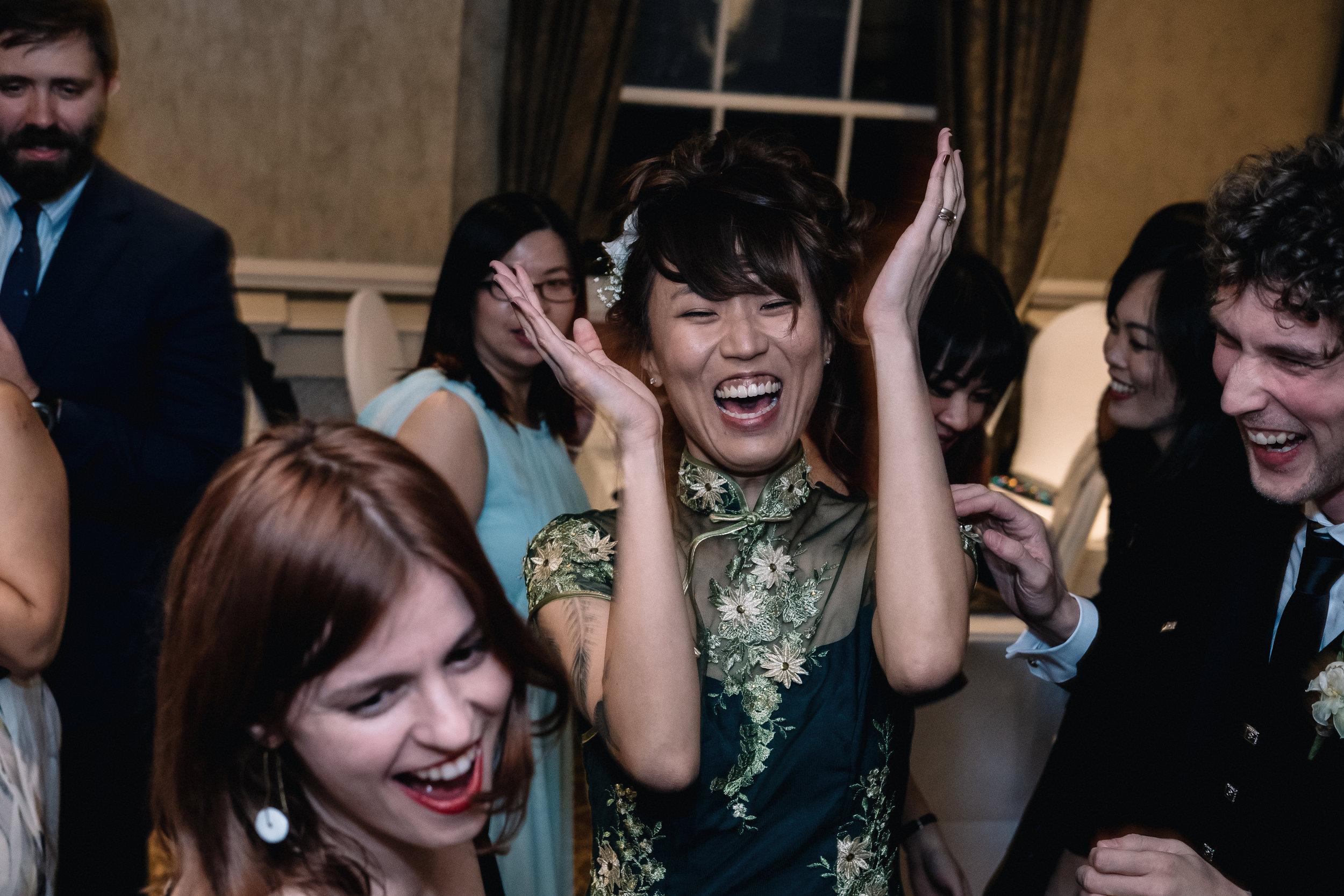 Smiling, dancing bride
