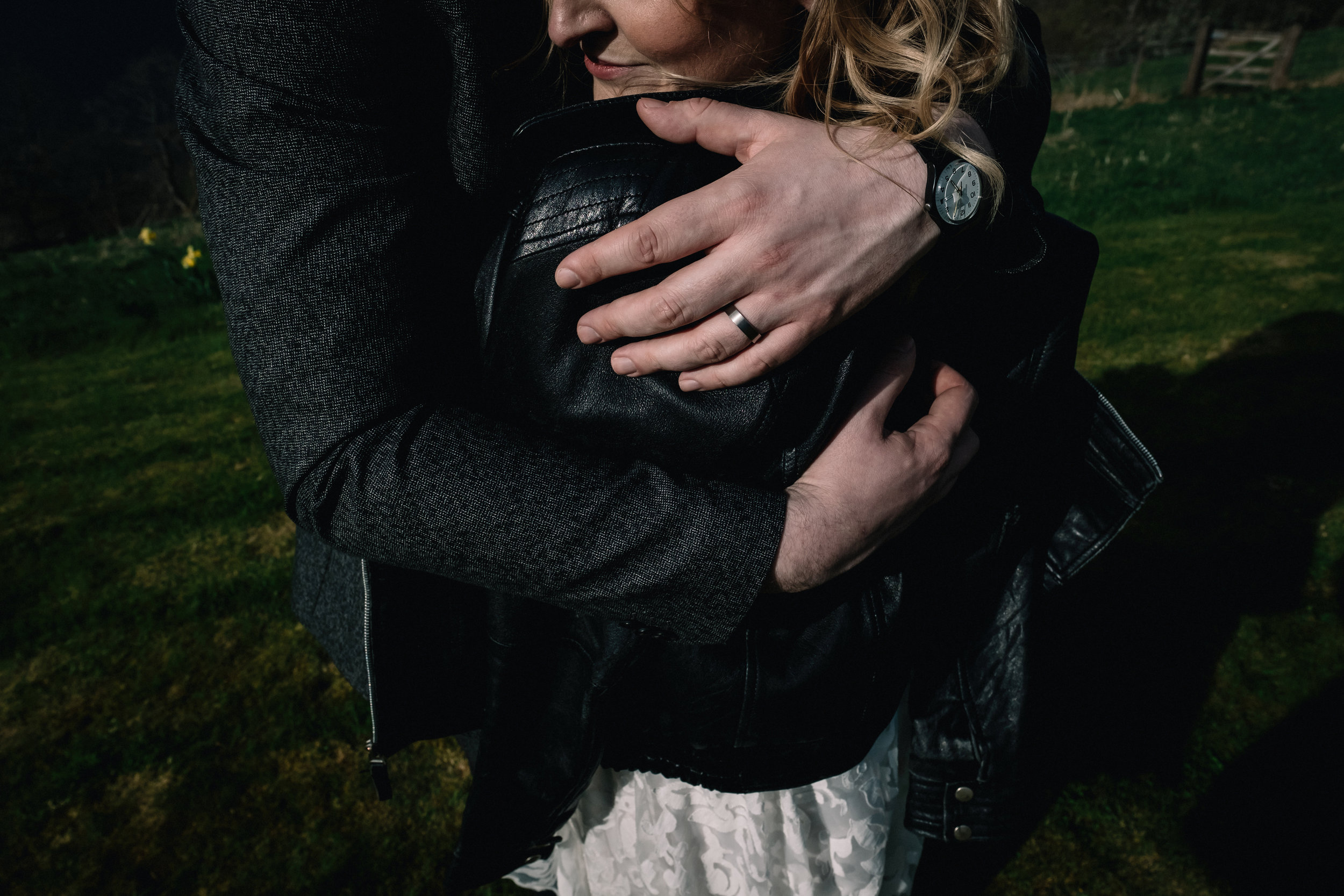 Couple in a close embrace