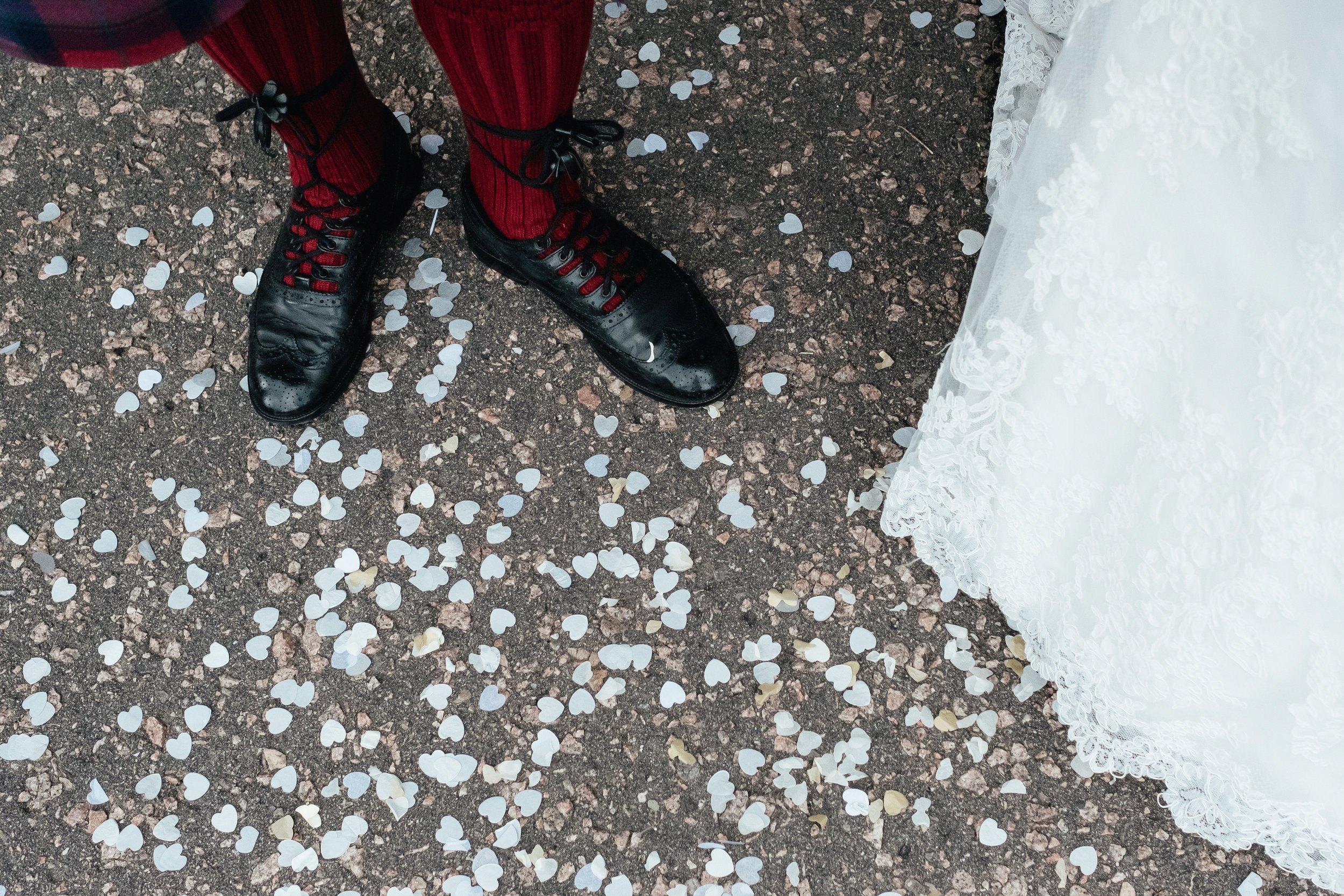 Red socks and confetti