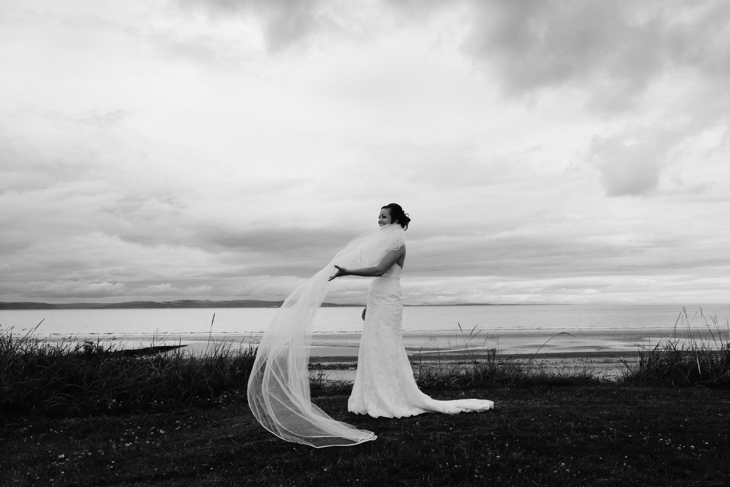 Bridal veil being blown in wind