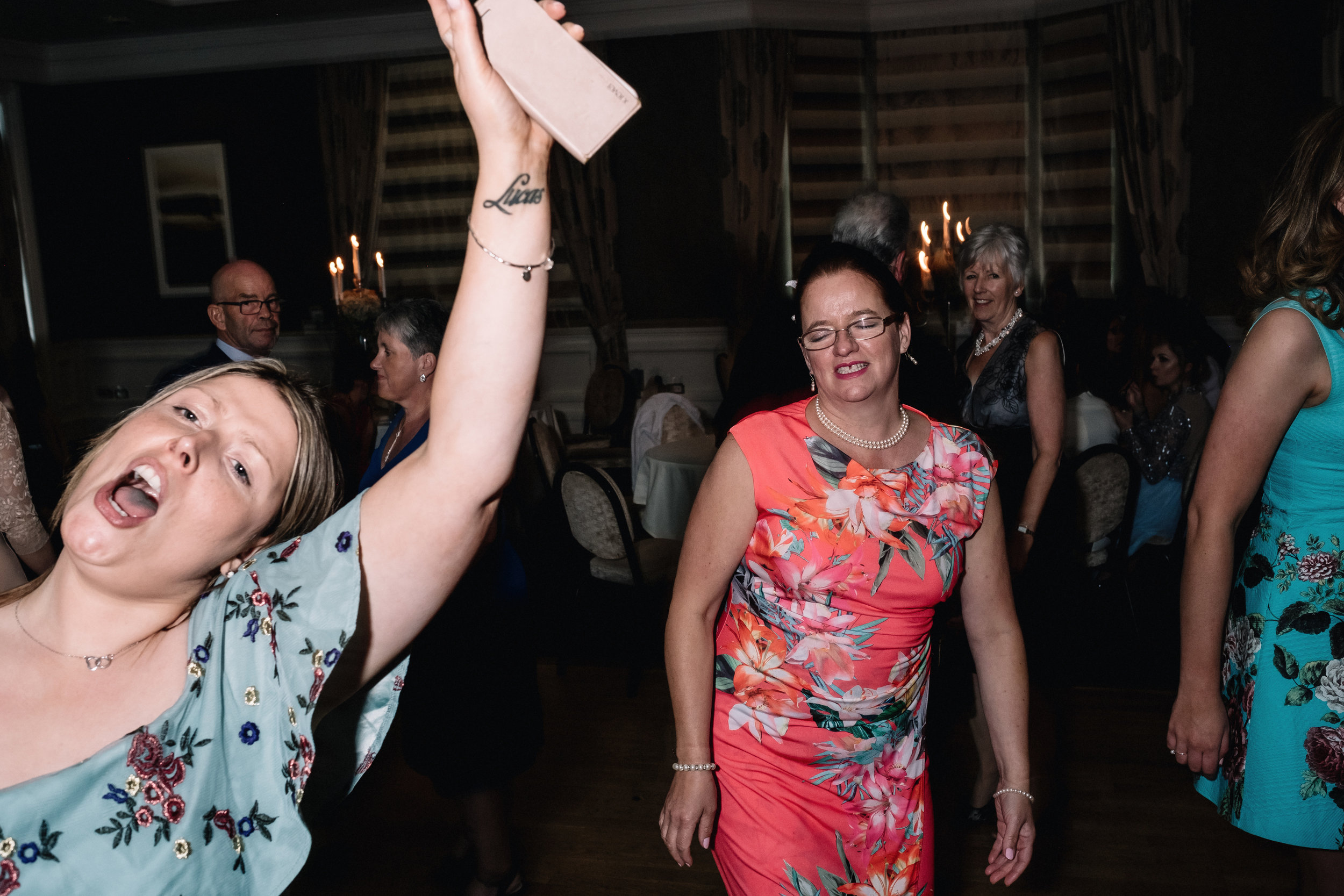 Animated guests on dance floor