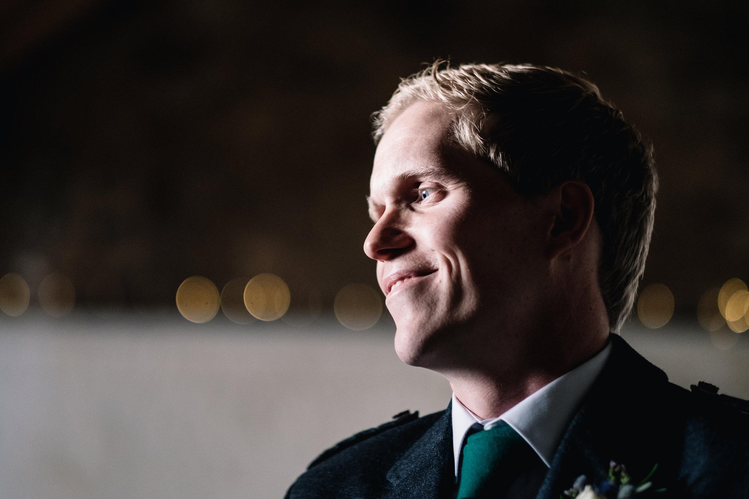 Smiling groom