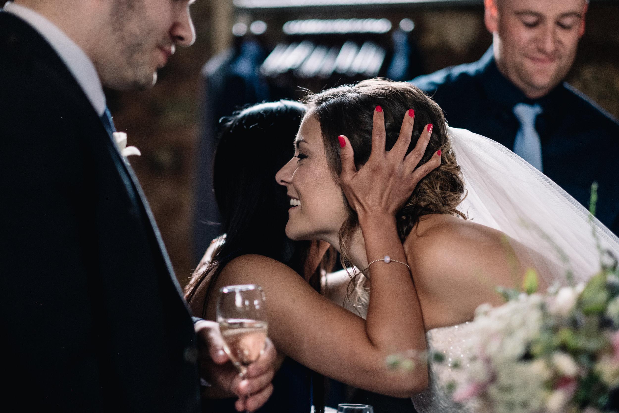 Guest congratulates bride