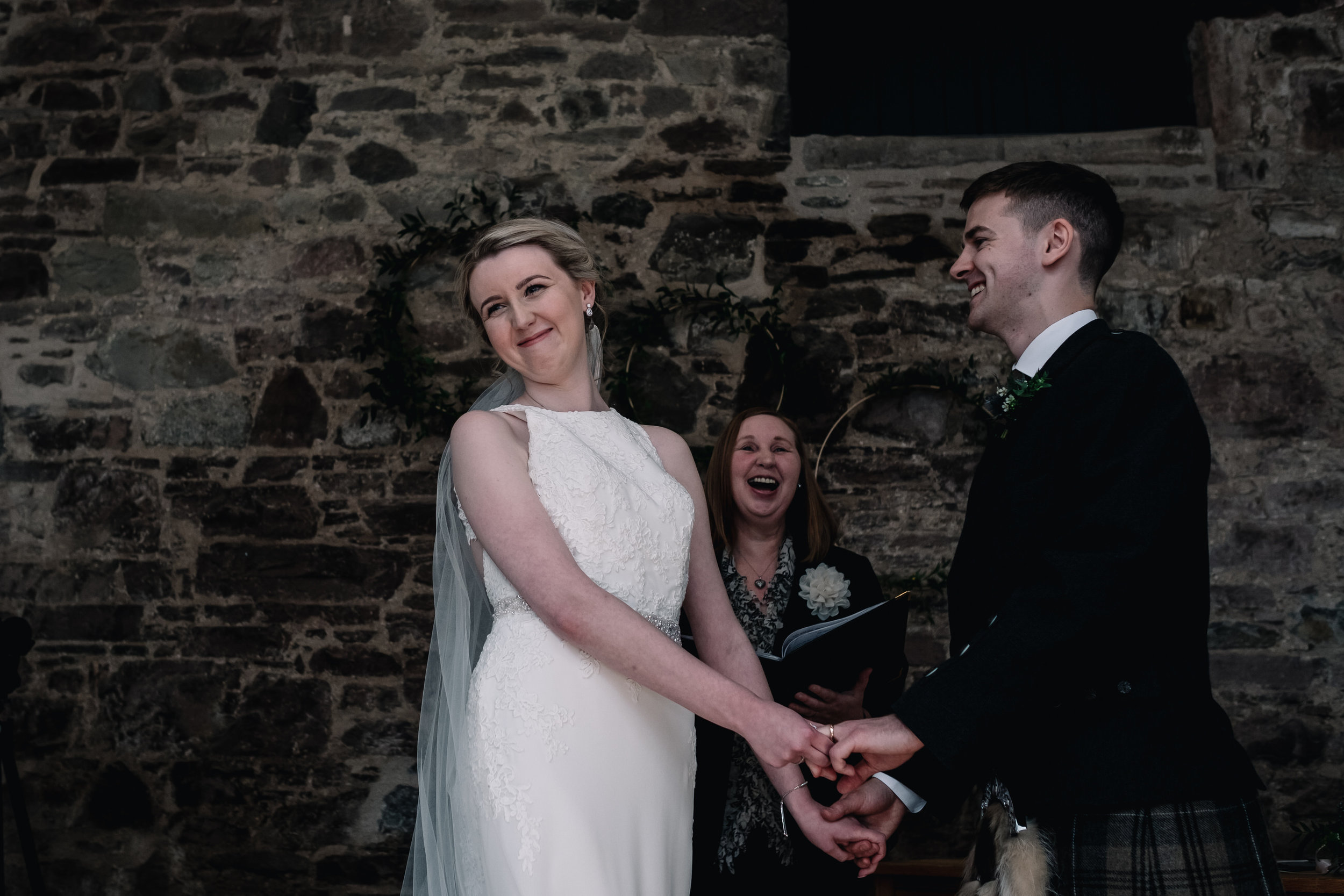 Laughter during wedding ceremony
