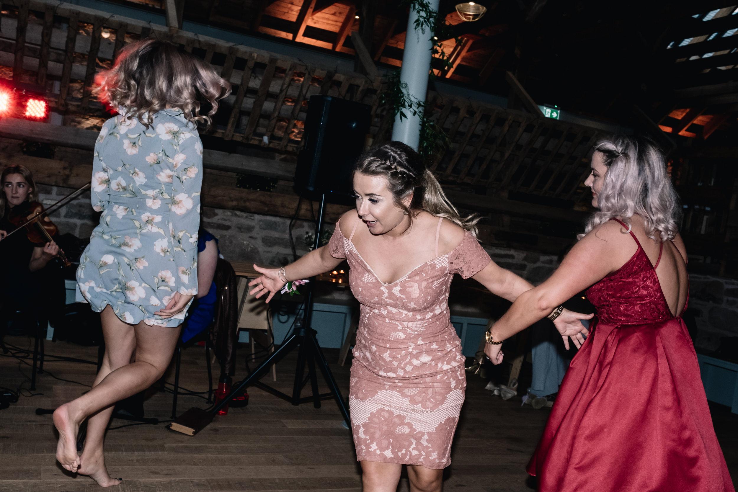 Enthusiastic female dancers