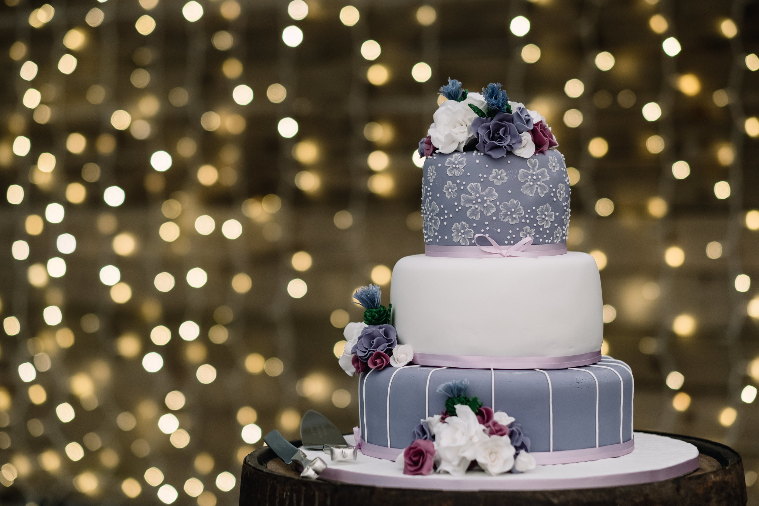 Cake: Make by a family member |  The Cow Shed   Pick up a set of a 2m x 2m twinkly lights for £42 from  Lights 4 Fun .