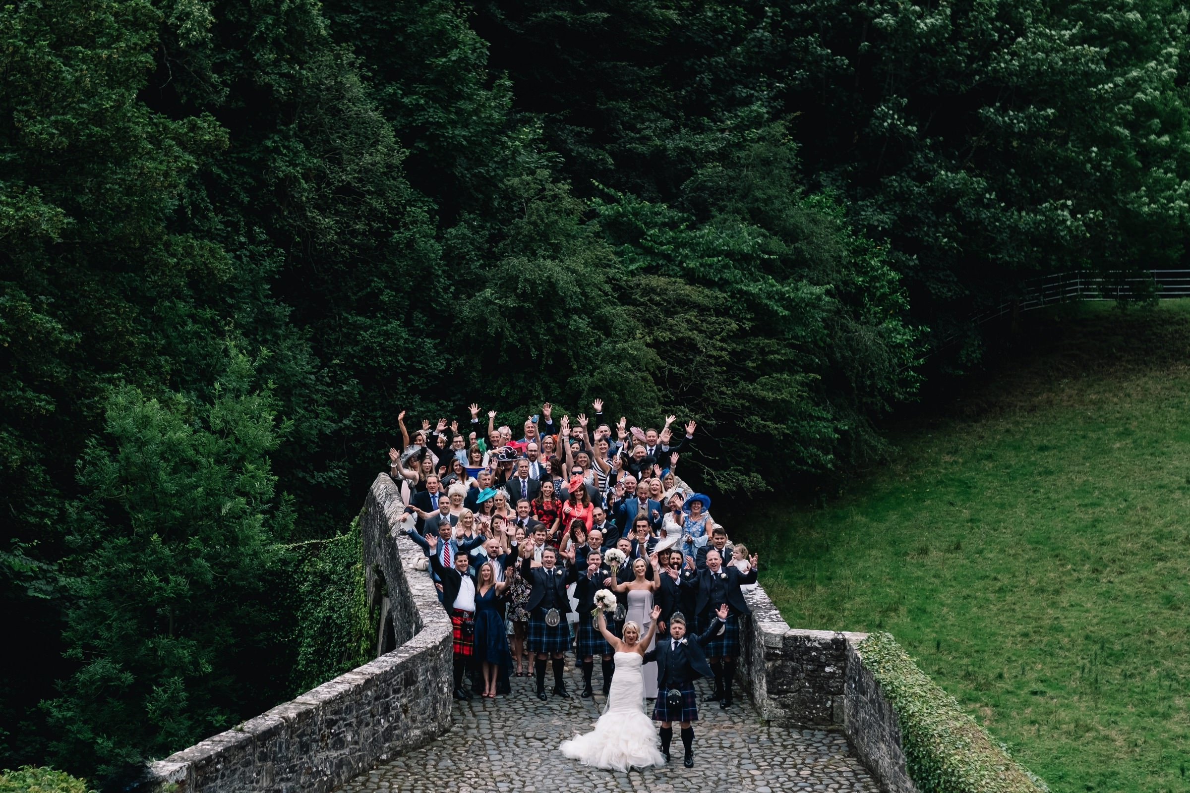 Group photograph on Brig o' Doon bridge