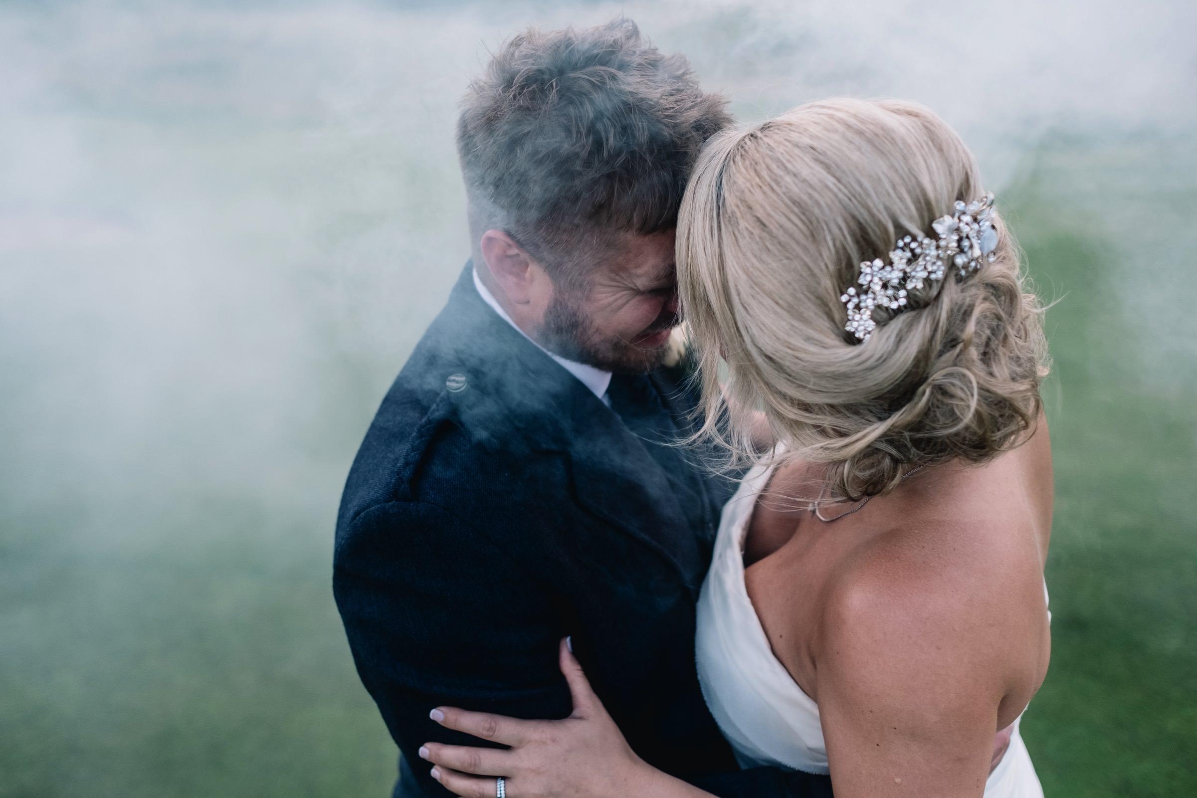 Smoke bomb embrace